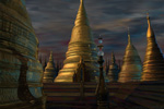 to the work Landscape with Stupas, a digital painting by Johan Framhout