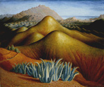 to the painting Dora Carrington, Spanish Landscape with Mountains, c 1924, oil on canvas