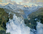 to Art7D.be, Painting for March 2016 - week 3,Charles Giron, Le Nuvolle, Vallée Lauterbrunnen, 1901