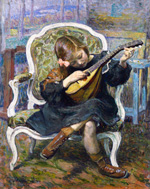 to Henry Lebasque, The little Mandolin Player Marthe Lebasque, 1905, oil on canvas (source the-athenaeum)