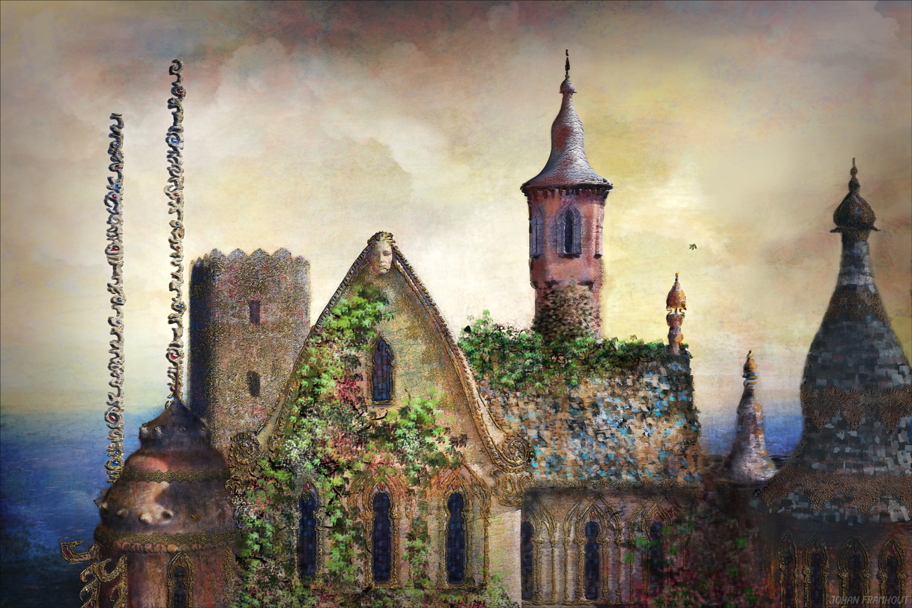 The pink tower, painting by Johan Framhout on art7d.be