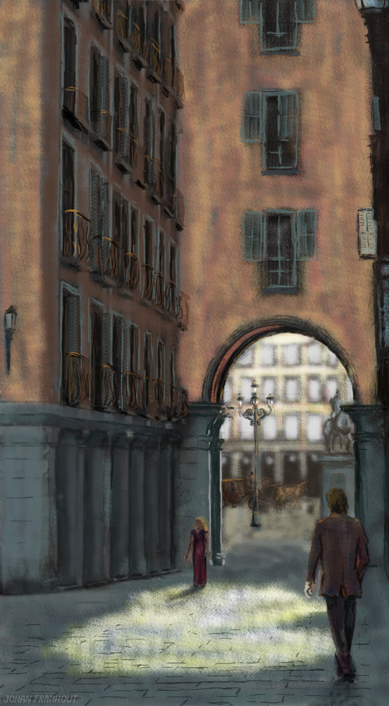 Retro city scene, a digital painting by Johan Framhout on art7d.be