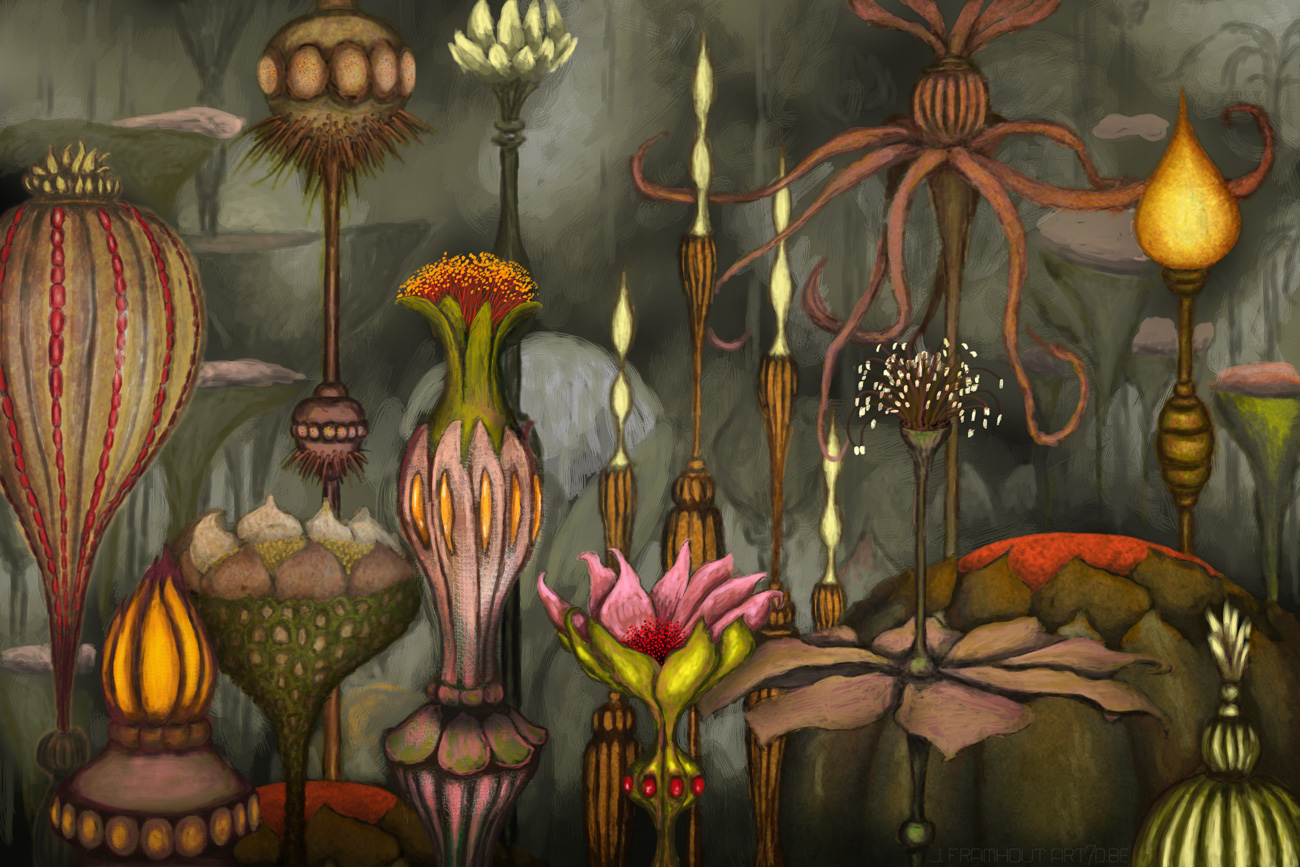 Vase-shaped flowers, a digital painting by Johan Framhout