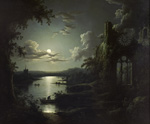 Sebastian Pether, Moonlit Lake with a Gothic Church Ruin (1810-1844)