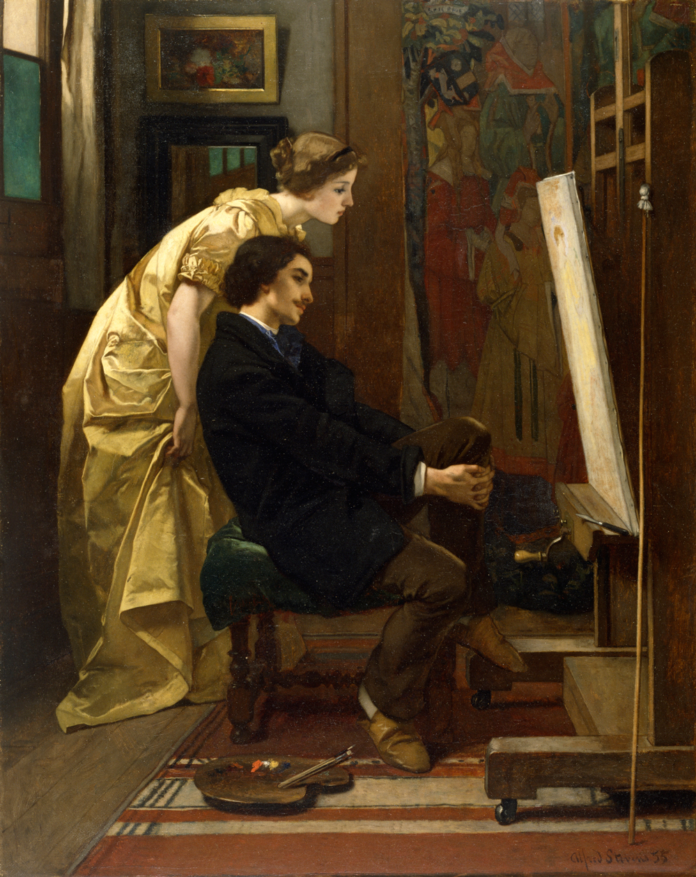 Art7D.be, Painting for August 2017- week 3, Alfred Stevens, (1823–1906), The painter and his model, 1855