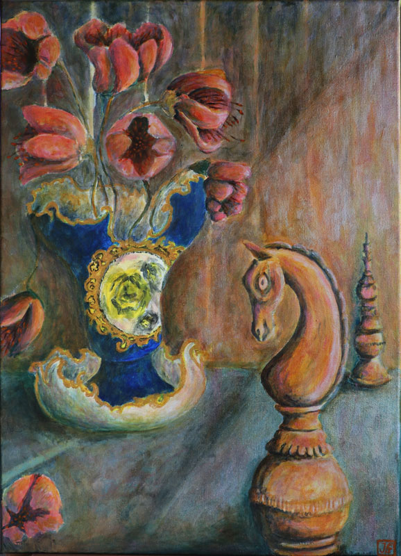 Still life with chessmen and rococo vase, acrylic on linen, by Johan Framhout