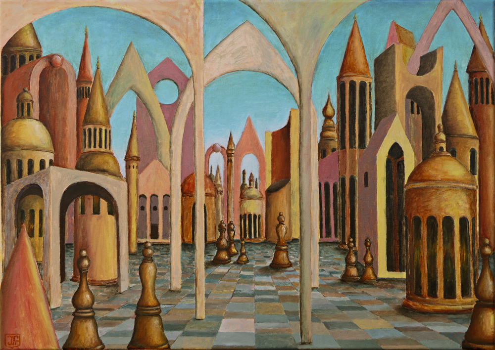Chessmen city, oil on linen, 70cm x 50cm, by Johan Framhout