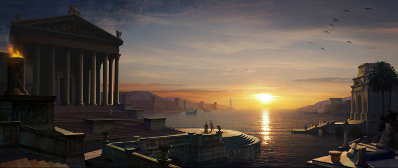 Edward Grad, Roman Harbor (digital matte painting)