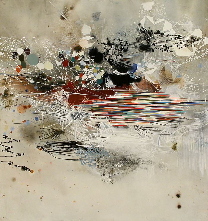 Reed Danziger, A varying Divergency (Oil, pencil, pigment, shellac on paper on wood)