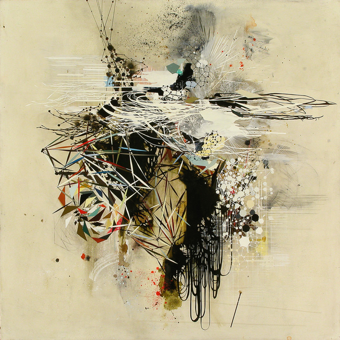 Reed Danziger, Continuous Duality of Energies (Oil, pencil, pigment, shellac on paper on wood)