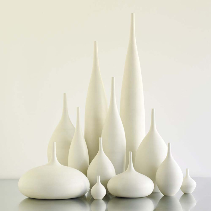 Sara Paloma, White Ceramic modern bottle vases