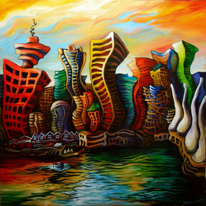 Laurazee, Vancouver Sunrise (acrylic on canvas)