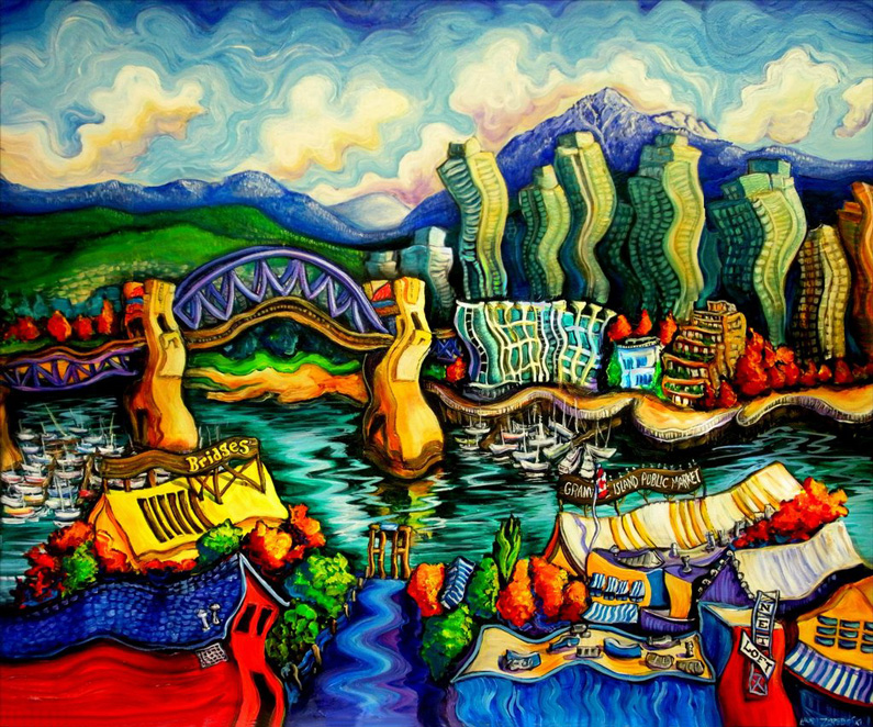Laurazee, Granville Island (acrylic on canvas)