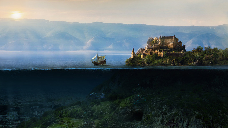 Sergey Likhachev, Above and below (matte painting)