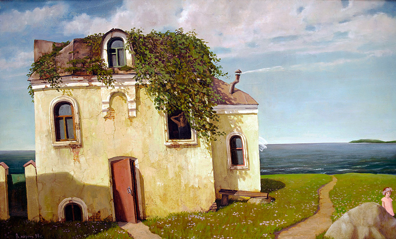 Vladimir Paroshin, The House at the Sea (oil on canvas)