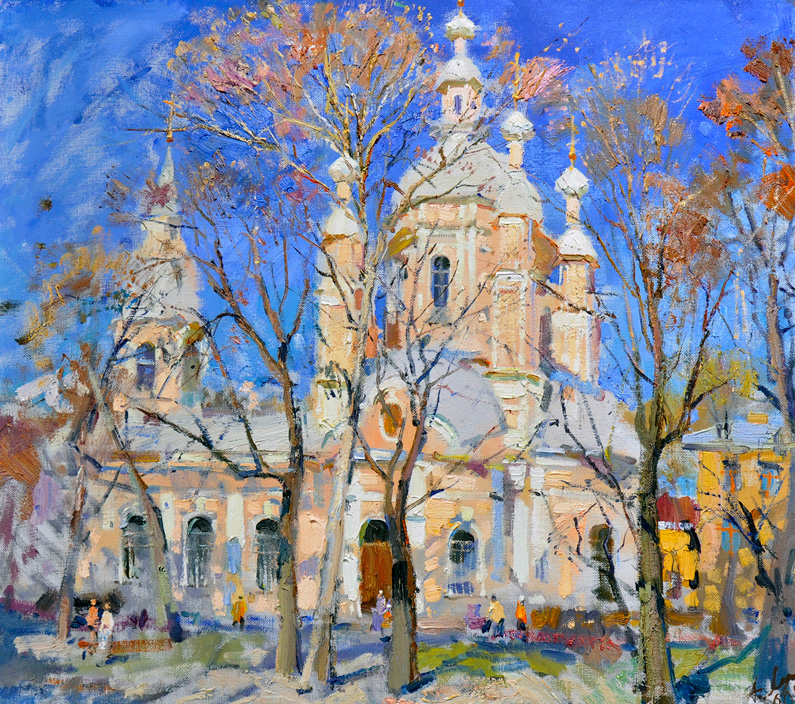 Anatoly Lukash, View on St. Andrew's Church (oil on canvas)
