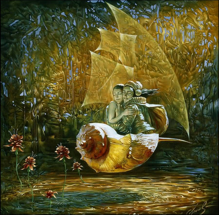 Michael Cheval, Vessel of utter Bliss (oil on canvas)