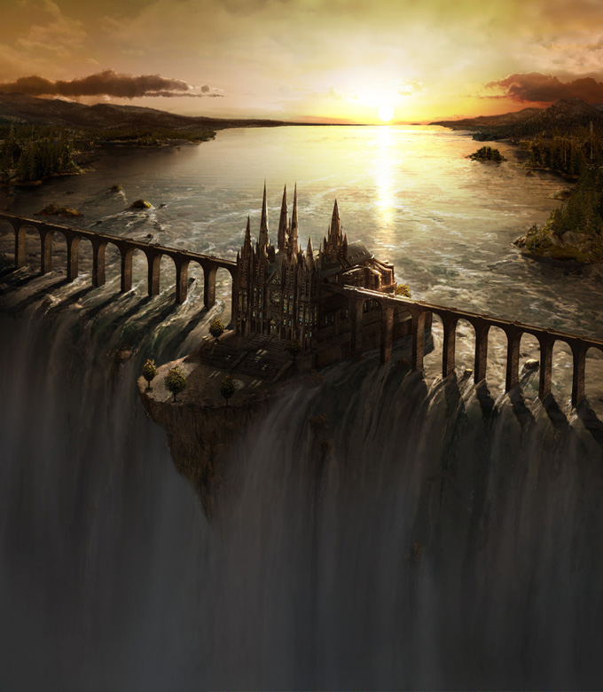 Frederic St-Arnaud, Waterfall Castle Matte Art