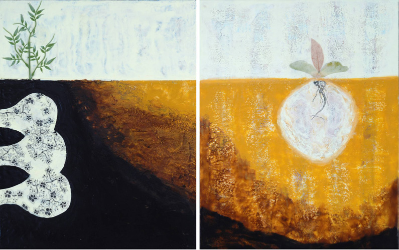 Sara Ameigh, NEW (left) + Linda Womack, IEA (right), What Lies Beneath, Diptych