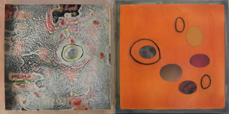 Michael Tsouris, IEA (left) + Linda Cordner, NEW (right), Rock, Paper, Wax, Diptych