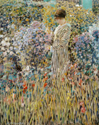 to the painting from Frederick Carl Frieseke (1874 - 1939), Woman in a Garden