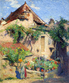 to painting Henri Martin, House and Garden at Saint-Cirq-Lapopie