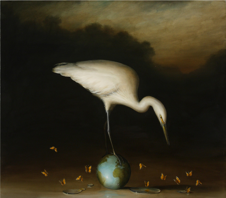 David Kroll, Egret on small Globe